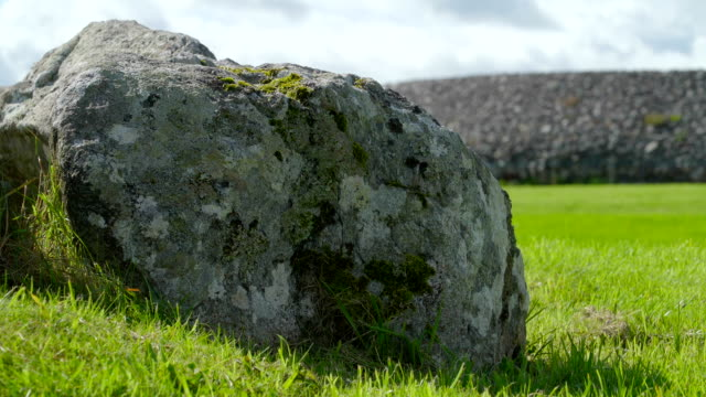 Closer look of the big stone on the grass Ireland video