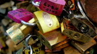 Closer look of the padlocks with names on it video