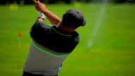 Close-up: a man playing golf at the golf club video