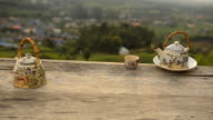 close-up dolly: resting with Chinese tea in front of rural city video