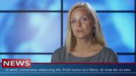 Close-up Female News Presenter in Broadcasting Studio video