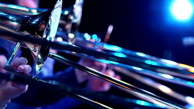 Closeup film of fragment trumpet. Instrument closeup on focus and focusless. video