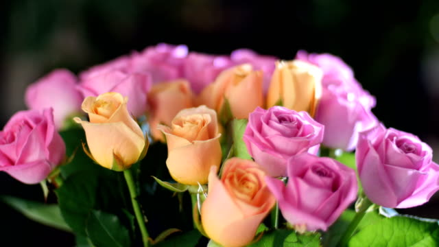 close-up, Flower bouquet in the rays of light, rotation, the floral composition consists of pink and orange Rose aqua. in the background a lot of greenery. Divine beauty video