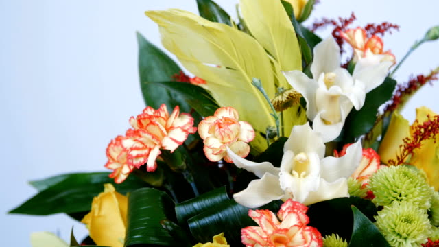 close-up. Flowers, bouquet, rotation on white background, floral composition consists of Rose penny lane, Carnation, Cymbidium orchid, solidago, Chrysanthemum santini, Russus, aspidistra video