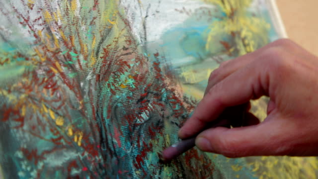 Close-up Footage. Painter Drawing A Picture of Autumn Landscape video