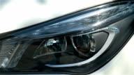 closeup Front light car. video