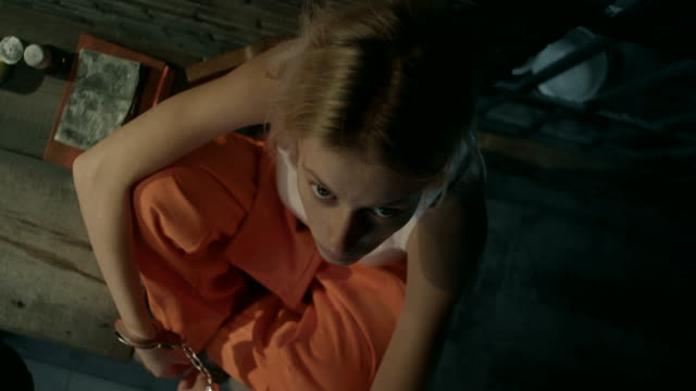Close-up, girl in prison cell video