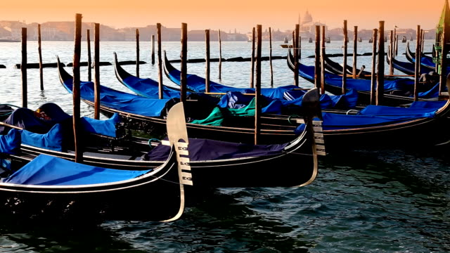Close-up gondolas sway on the waves in Venice video