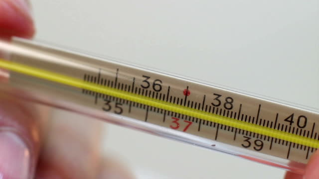Close-up hands holding thermometer, healthy body temperature video