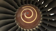 Close-up jet turbine engine video