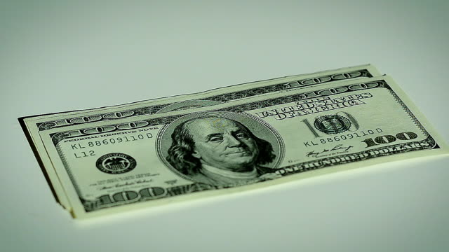 Close-Up Male Hand Count Hundred Dollar Bills video