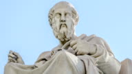 Closeup Marble Statue of the Ancient Greek Philosopher Plato on Sky Background video