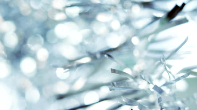 Close-up of a Christmas tinsel video