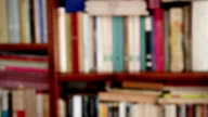 DOLLY: Closeup of a defocused Library video