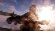 Closeup of a Fast Snowmobile Driver video
