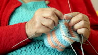 Closeup of a Grandmother Knitting Wool Socks video