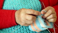 Close-up of a Grandmother Knitting Wool Socks video