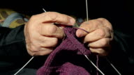 Closeup of a Grandmother Knitting Wool video