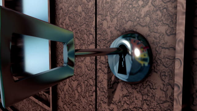 Closeup of a keyhole with key which is rotated video