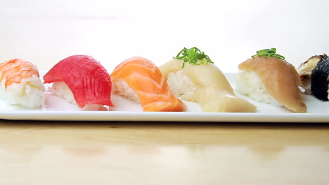 Close-Up of a plate of Sushi video