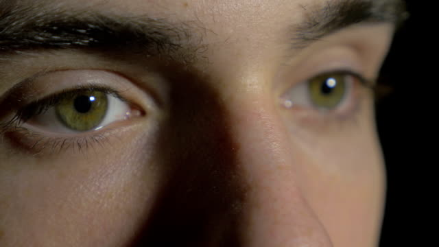 Close-up of a young man eyes opening and blinking video