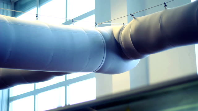 Closeup of air extractor in the workshop. Duct system at food factory. Air flow in conditioning pipe. Duct work in industrial premises video