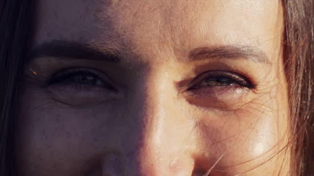 Closeup of beautiful female eyes video