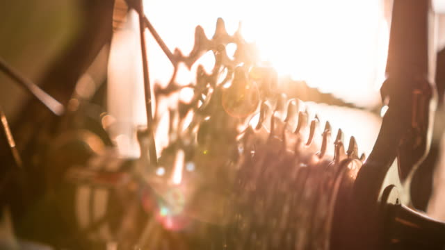 Close-up of bicycle cassette sprocket in motion video