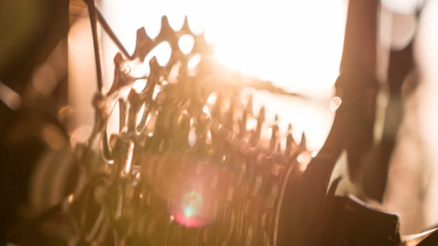Close-up of bicycle cassette sprocket spinning video