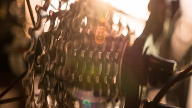Close-up of bicycle gear and chain in motion video