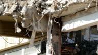 Close-up of building demolition. video