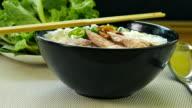 closeup of cooking thai food noodle soup video