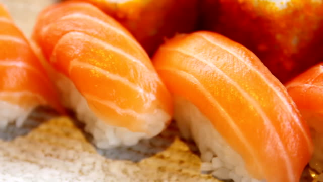 close-up of delicious sushi video