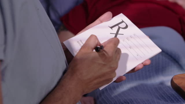 Closeup of doctor writing a prescription video