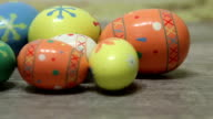 Close-up of Easter Eggs on Old Wood video