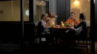 Close-up of family clinking glasses and eating dinner video