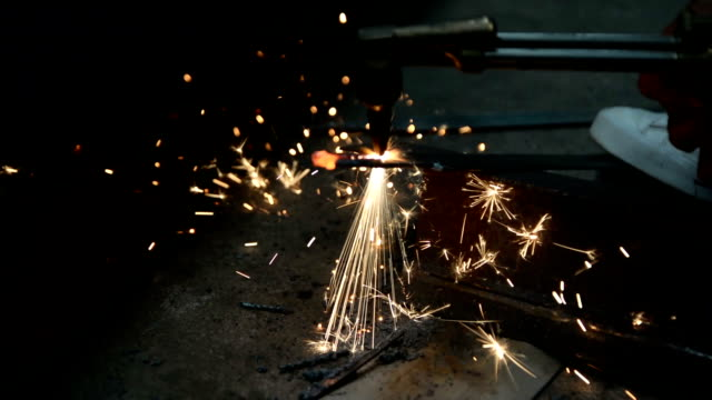 Close-up of gas welding video