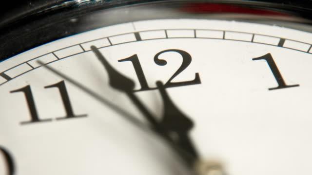 Closeup of hands on clock face video