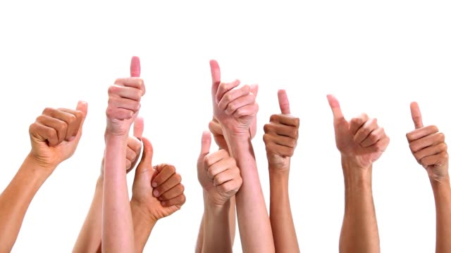Close-up of hands with thumbs-up video