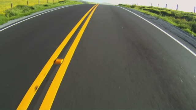 Close-up of highway while moving along divided yellow line video