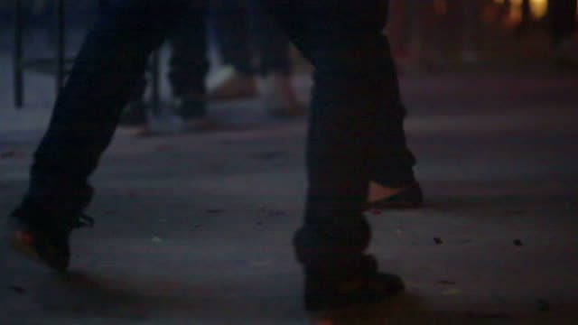 closeup of human foot danceing in disco party night club video