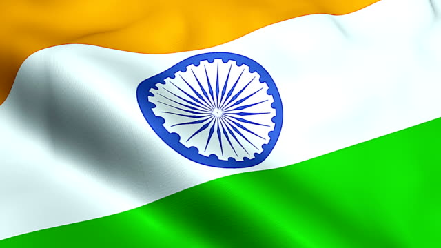 closeup of illustration waving india flag, with blue wheel, national symbol of indian video