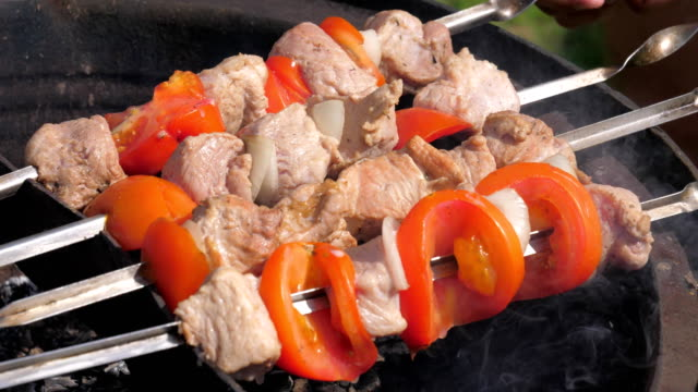 Closeup of Male Hands Turn Over The Skewers Of Meat With Vegetables video