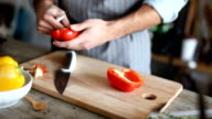 close-up of man clean and chopped bell pepper video