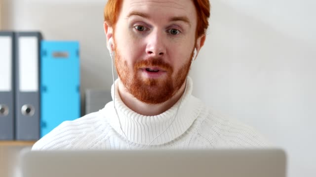 Close-up of  Man with Red Hairs Video Chat, Talking Online video