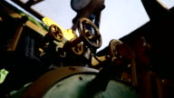 Closeup of manometer, pipes and faucet valves of steam train video