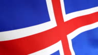 Closeup of national flag of Iceland video