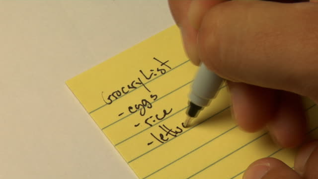 Closeup of person writing a grocery list video