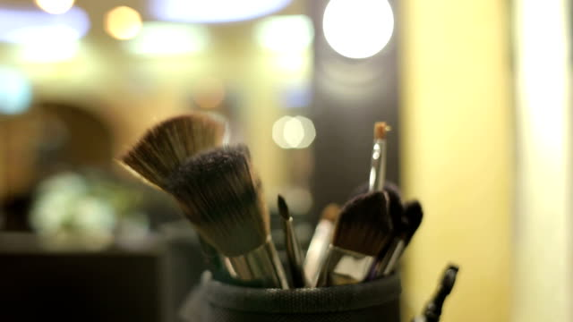 Close-up of professional cosmetics make-up brushes video
