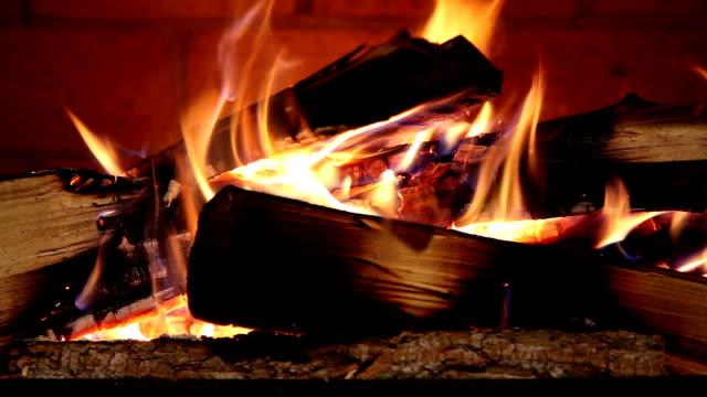 Close-up of Real Wood Fire Burning in a Brick Fireplace video